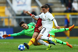 November 27, 2018 - Rome, Italy - AS Roma - FC Real Madrid : UEFA Youth League Group G .Emanuele Zamarion of Roma saves on Alberto of Real Madrid at Tre Fontane Stadium in Rome, Italy on November 27, 2018. (Credit Image: © Matteo Ciambelli/NurPhoto via ZUMA Press)