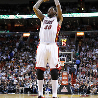 17 January 2012: Miami Heat power forward Udonis Haslem (40) takes a jumpshot during the Miami Heat 120-98 victory over the San Antonio Spurs at the AmericanAirlines Arena, Miami, Florida, USA.