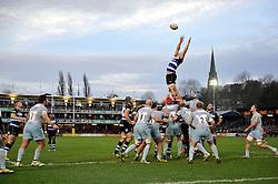 Tom Ellis of Bath Rugby rises high to win lineout ball - Mandatory byline: Patrick Khachfe/JMP - 07966 386802 - 05/12/2015 - RUGBY UNION - The Recreation Ground - Bath, England - Bath Rugby v Northampton Saints - Aviva Premiership.