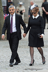 © Licensed to London News Pictures. 10/06/2016. London mayor Sadiq Khan and wife Saadiya Khan attend The National Service of Thanksgiving to mark the 90th Birthday of Queen Elizabeth II at St Paul's Cathedral. London, UK. Photo credit: Ray Tang/LNP