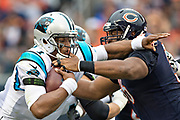 CHICAGO, IL - OCTOBER 22:  Cam Newton #1 of the Carolina Panthers is sacked by Akiem Hicks #96 of the Chicago Bears at Soldier Field on October 22, 2017 in Chicago, Illinois.  The Bears defeated the Panthers 17-3.  (Photo by Wesley Hitt/Getty Images) *** Local Caption *** Cam Newton; Akiem Hicks