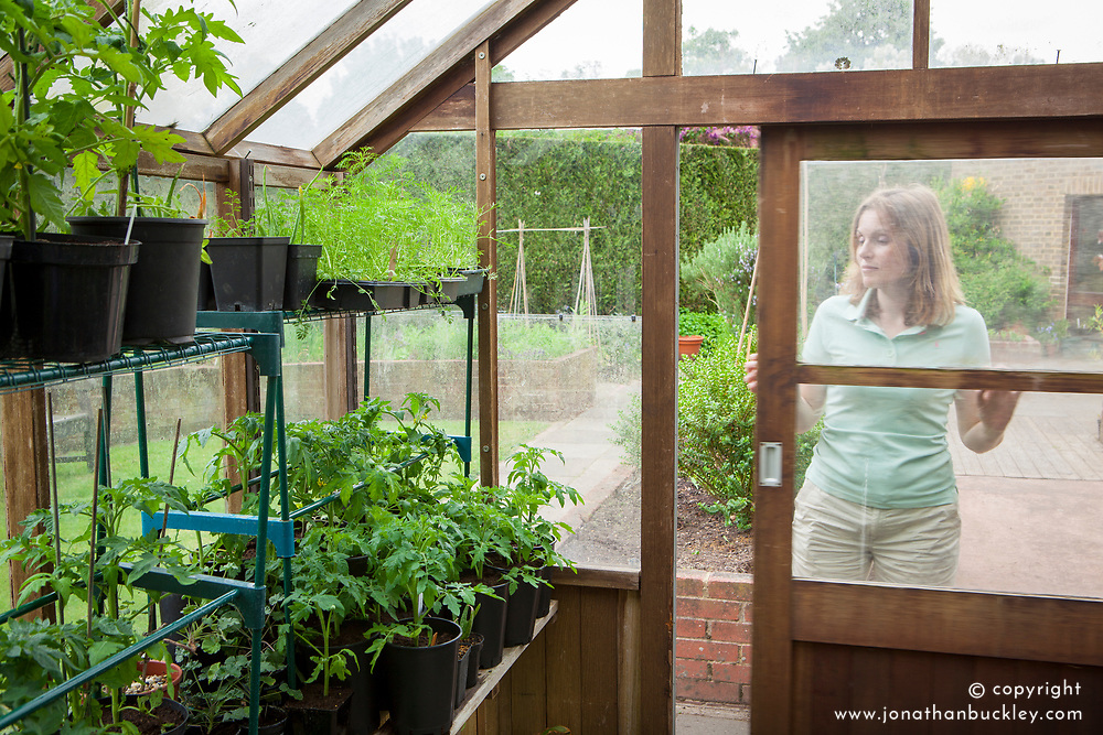 Opening greenhouse door on warmer days for ventilation