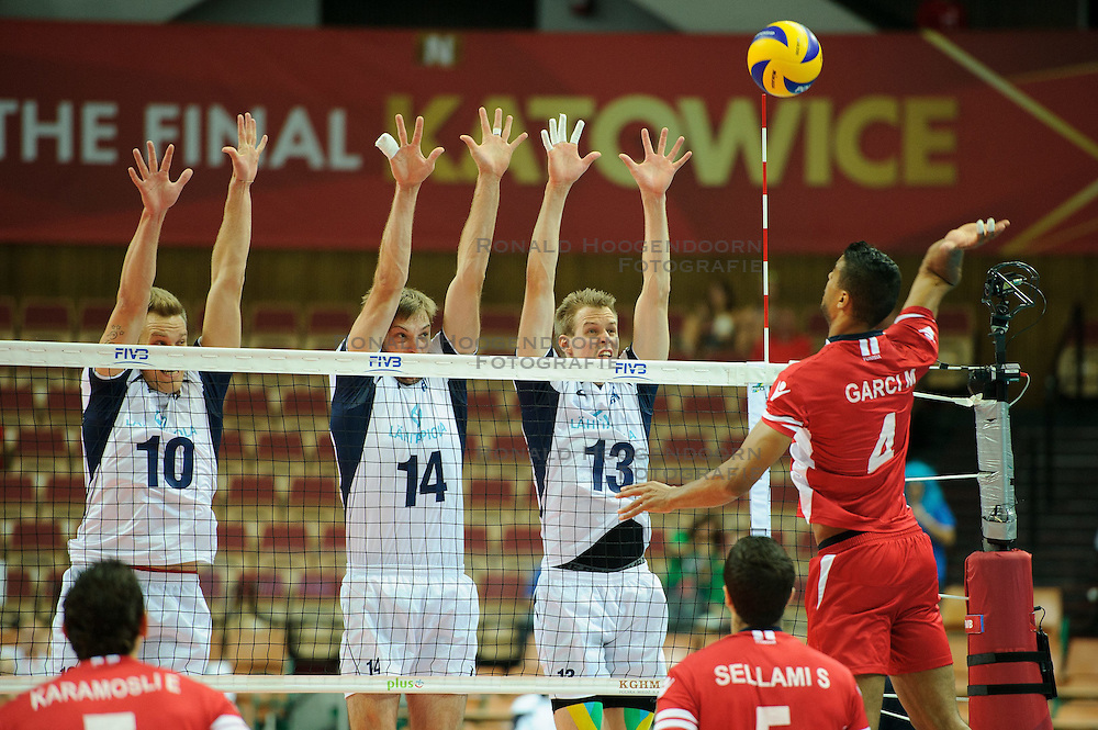 07.09.2014, Spodek, Katowice, POL, FIVB WM, Tunesien vs Finnland, Gruppe B, im Bild Urpo Sivula, Konstantin Shumov, Mikko Oivanen , Marouen Garci // during the FIVB Volleyball Men's World Championships Pool B Match beween Tunisia and Finland at the Spodek in Katowice, Poland on 2014/09/07. E<br /> <br /> ***NETHERLANDS ONLY***