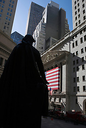 Federal Hall National Monument overlooking the New York Stock Exchange, Manhattan, New York City, New York..
