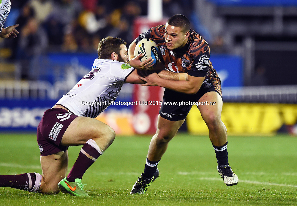 TUIMOALA LOLOHEA during the NRL Rugby League match between the Vodafone Warriors and The Manly Sea Eagles at Mt Smart Stadium, Auckland, New Zealand. Saturday 25 July 2015. Copyright Photo: Andrew Cornaga / www.Photosport.nz