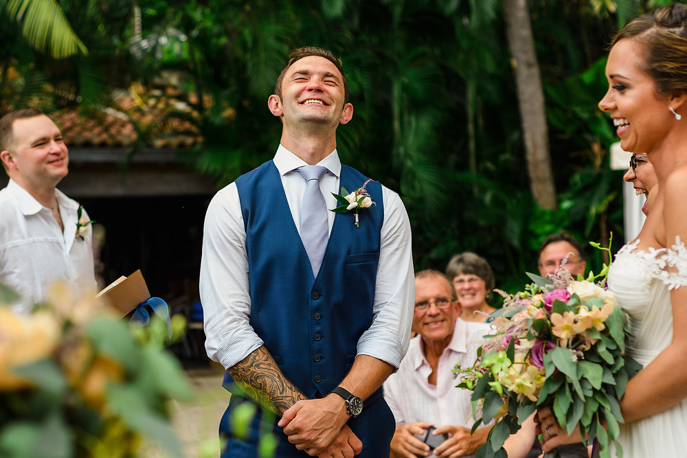 Beautiful Stephanie surprises Chris at the altar at their wonderful wedding in Casa Verano in Puerto Vallarta Mexico. Photo by Melissa Suneson.