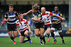 Max Clark of Bath Rugby takes on the Gloucester defence - Mandatory byline: Patrick Khachfe/JMP - 07966 386802 - 13/09/2015 - RUGBY UNION - Memorial Stadium - Bristol, England - Gloucester Rugby v Bath Rugby - West Country Challenge Cup.