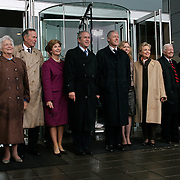 Pres. Bush stands alongside former Presidents George H.W. Bush, William Jefferson Clinton, and Jimmy Carter during the opening of the Clinton Presidential Library Thursday, November 18, 2004, in Little Rock, AR.  Also attending are spouses Barbara Bush, Laura Bush, Hillary Clinton, Chelsea Clinton, and Roslyn Carter...Photo by Khue Bui
