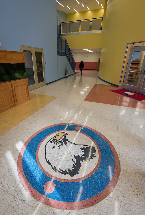 The new Sherman Elementary School entryway features a school seal.