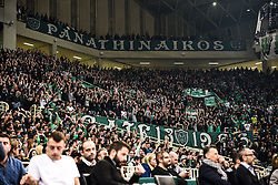 December 19, 2017 - Athens, Greece - Fans of Panathinaikos Superfoods Athens react during the 2017/2018 Turkish Airlines EuroLeague Regular Season Round 13 game between Panathinaikos Superfoods Athens and Maccabi Fox Tel Aviv at Olympic Sports Center Athens on December 19, 2017 in Athens, Greece. (Credit Image: © Dimitris Lampropoulos/NurPhoto via ZUMA Press)