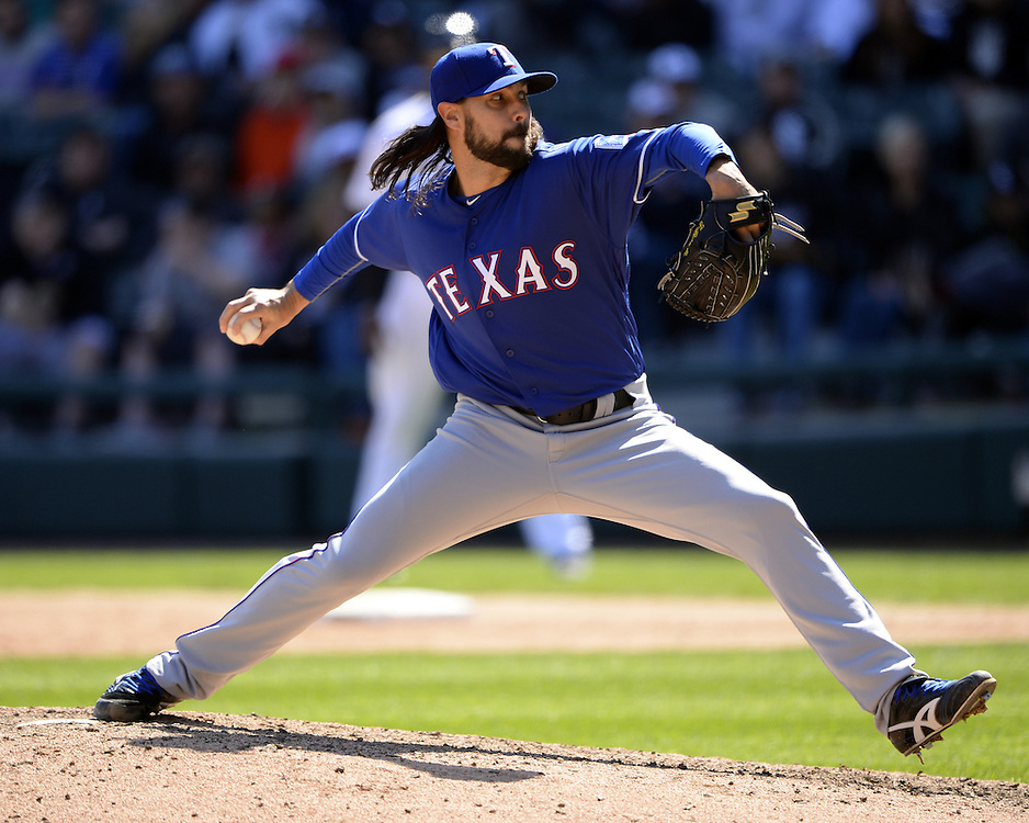 CHICAGO - APRIL 23:  Tony Barnette #43 of the Texas Rangers pitches against the Chicago White Sox on April 23, 2016 at U.S. Cellular Field in Chicago, Illinois.  The White Sox defeated the Rangers 4-3 in 11 innings.  (Photo by Ron Vesely)   Subject: Tony Barnette