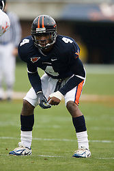 Virginia Cavaliers CB Vic Hall (4)..The University of Virginia Football Team played their Spring game at Scott Stadium in Charlottesville, VA on April 14, 2007.