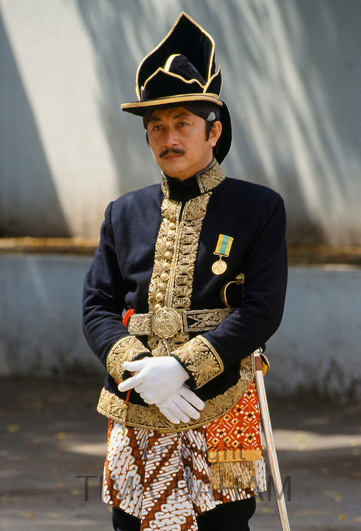 Ceremonial guard in traditional uniform in Sultan's Palace, Yogyakarta, Indonesia