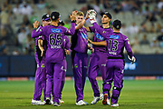 14th January 2019, Melbourne Cricket Ground, Melbourne, Australia; Australian Big Bash Cricket, Melbourne Stars versus Hobart Hurricanes; Riley Meredith of the Hobart Hurricanes celebrates the wicket of Nick Larkin with team mates