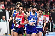 Abdelaati Iguider (MAR) and Ban Blenkinship (USA) head the field on the first lap of the Men's 1500m Final, Iguider finished with Bronze in a time of 3.58.43 during the final session of the IAAF World Indoor Championships at Arena Birmingham in Birmingham, United Kingdom on Saturday, Mar 2, 2018. (Steve Flynn/Image of Sport)