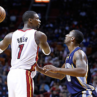 12 March 2011: Memphis Grizzlies power forward Darrell Arthur (00) defends on Miami Heat power forward Chris Bosh (1) during the Miami Heat 118-85 victory over the Memphis Grizzlies at the AmericanAirlines Arena, Miami, Florida, USA. **