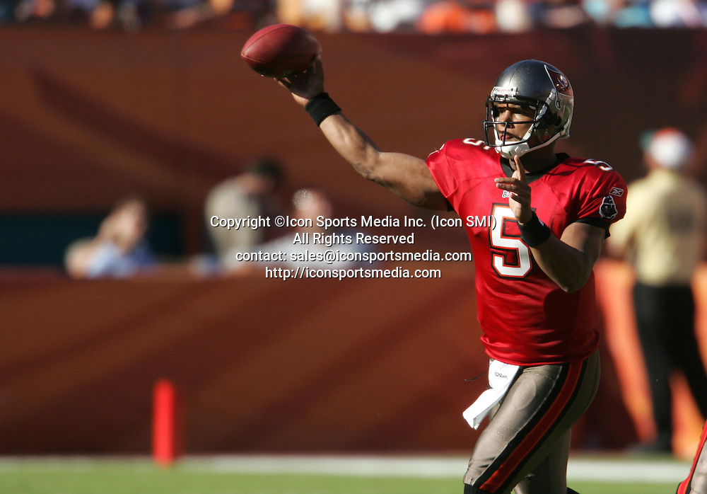 15 NOV 2009:  Josh Freeman of the Buccaneers fires the ball out into the flats during the game between the Tampa Bay Buccaneers and the Miami Dolphins at Landshark Stadium in Miami Gardens, FL.  The Dolphins defeated the Buccaneers by the score of 25 to 23.