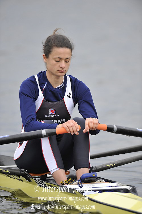 Hazewinkel, BELGIUM,  Women's Lightweight Single Scull, Hester GOODSELL,  at the start of her race in the Sunday Afternoon Semi Finals at the British Rowing Senior Trails, Bloso Rowing Centre. Sunday,  11/04/2010. [Mandatory Credit. Peter Spurrier/Intersport Images]