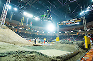 Destry Abbot celebrates over the finish as he sneaks in to the final with a win in LCQ #2 at Endurocross Las Vegas, NV.