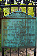 Paul Revere memorial plaque at the Granary Burial Ground on the Freedom Trail, Boston, Massachusetts