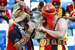 Belgium fans kissing the World Cup during the 2018 FIFA World Cup Russia group G match between England and Belgium at the Kalingrad stadium on June 28, 2018 in Kaliningrad, Russia