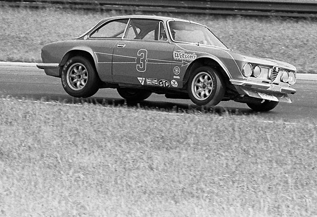 "Horst Kwech ""bicycles"" his Alfa Romeo during U2 Trans-Am race at Mid-Ohio 1971"