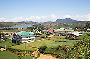View over the town of Nuwara Eliya, Central Province, Sri Lanka, Asia farmland in foreground