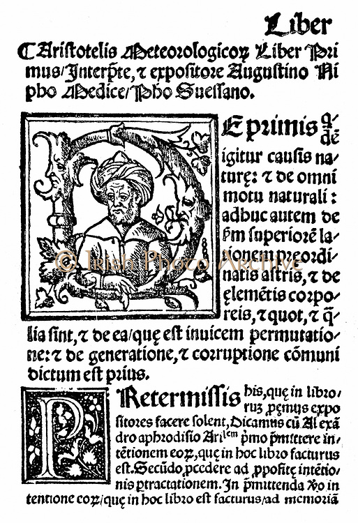 Aristotle (384-322 BC) Ancient Greek philosopher and scientist. First page and initial portrait from Agostini Nifo 'Aristotelis' Meteorologicis Commetaria', Venice, 1531. Aristotle considered comets to be meteorological phenomena.