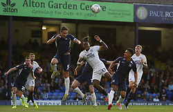 Ivan Toney of Peterborough United jumps for a header with Mark Milligan of Southend United - Mandatory by-line: Joe Dent/JMP - 20/08/2019 - FOOTBALL - Roots Hall - Southend-on-Sea, England - Southend United v Peterborough United - Sky Bet League One