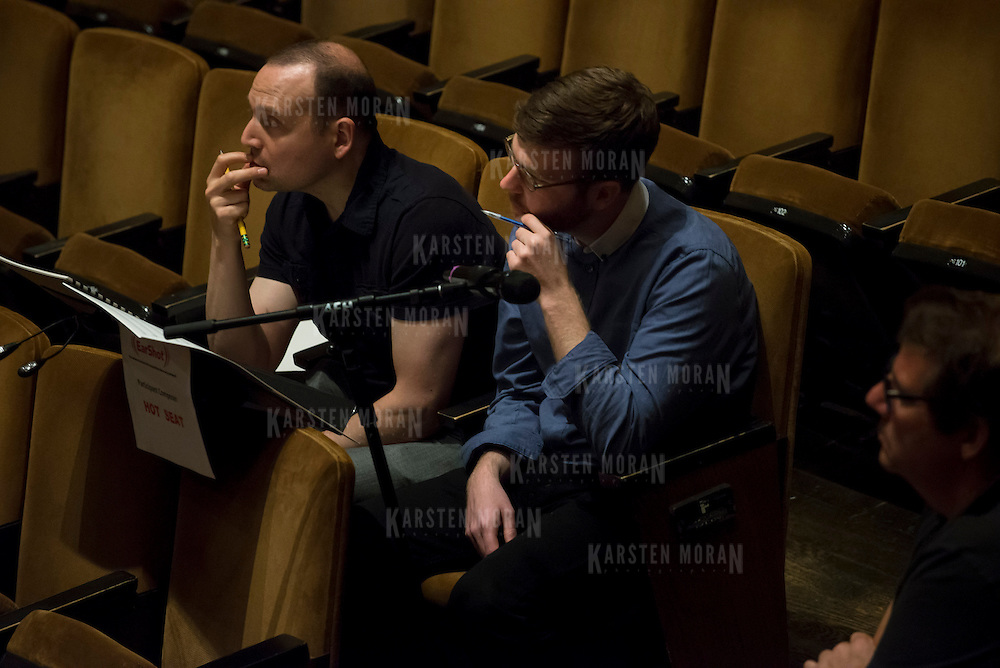 June 3, 2014 - New York, NY : Composer William Dougherty, right, works with mentor composer Derek Bermel during a rehearsal of Dougherty's composition by the New York Philharmonic at Avery Fisher Hall on Tuesday. Three works by little-known composers, such as Dougherty, will be selected for inclusion in the New York Philharmonic's Biennial. CREDIT: Karsten Moran for The New York Times