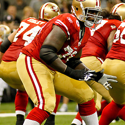 August 12, 2011; New Orleans, LA, USA; San Francisco 49ers offensive tackle Anthony Davis (76) during the first half of a preseason game against the New Orleans Saints at the Louisiana Superdome. Mandatory Credit: Derick E. Hingle