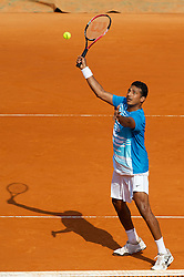 MONTE-CARLO, MONACO - Friday, April 16, 2010: Mahesh Bhupathi (IND) in action during the Men's Doubles 3rd Round match on day five of the ATP Masters Series Monte-Carlo at the Monte-Carlo Country Club. (Photo by David Rawcliffe/Propaganda)