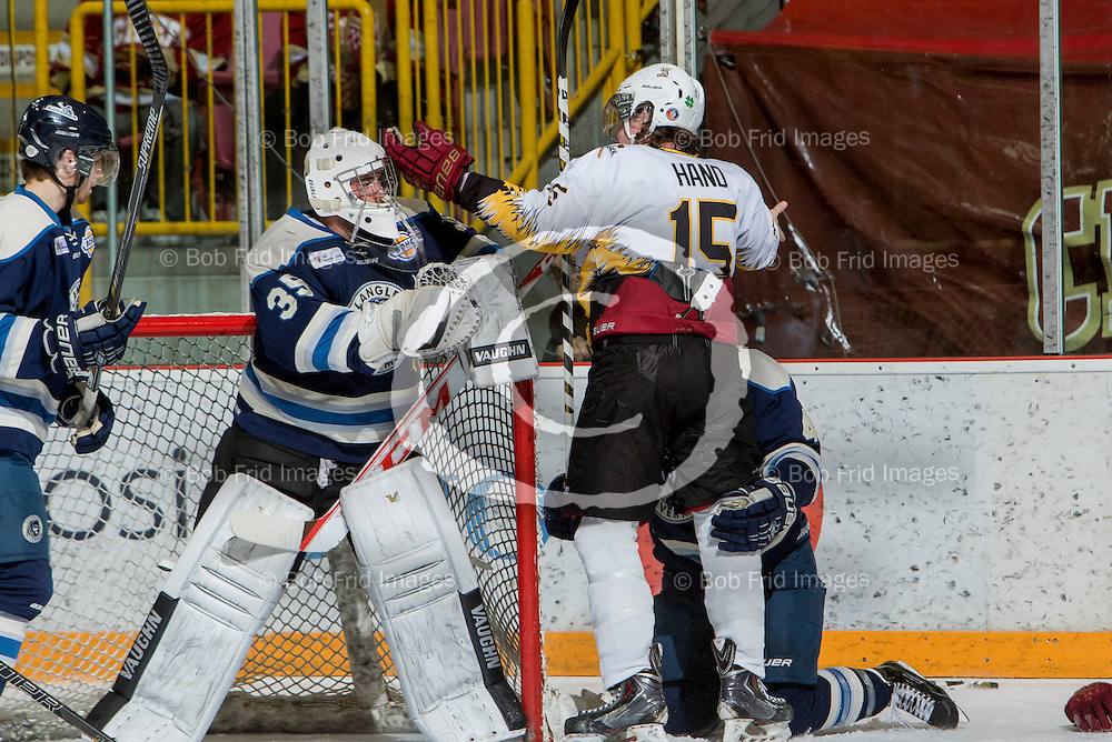 10 January 2015:   Jake Hand of the Chiefs during a game between the Chilliwack Chiefs and the Langley Rivermen at Prospera Centre, Chilliwack, BC.    ****(Photo by Bob Frid - All Rights Reserved 2015): mobile: 778-834-2455 : email: bob.frid@shaw.ca ****