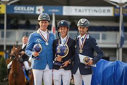 Podium 7 Years, Allen Bertram (IRL), Ahlmann Christian (GER), Arvidsson Niklas (SWE)<br /> Final 7 years<br /> FEI World Breeding Jumping Championships for Young Horses - Lanaken 2014<br /> © Dirk Caremans