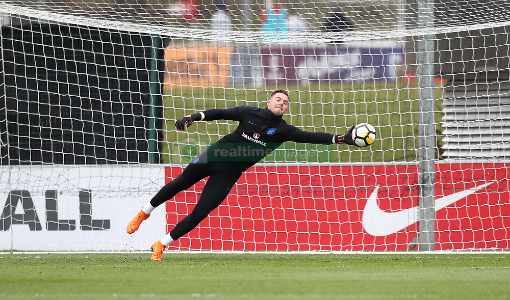 England goalkeeper Jack Butland during a training session at St Georges' Park, Burton. PRESS ASSOCIATION Photo. Picture date: Thursday March 22, 2018. See PA story SOCCER England. Photo credit should read: Simon Cooper/PA Wire. RESTRICTIONS: Use subject to FA restrictions. Editorial use only. Commercial use only with prior written consent of the FA. No editing except cropping.