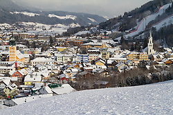 14.01.2013, Schladming, AUT, FIS Weltmeisterschaften Ski Alpin, Schladming 2013, Vorberichte, im Bild Schladming mit seinen beiden Kirchen und dem Planai-Zielhang am 14.01.2013 // Schladming with its both churches and the Planai on 2013/01/14, preview to the FIS Alpine World Ski Championships 2013 at Schladming, Austria on 2013/01/14. EXPA Pictures © 2013, PhotoCredit: EXPA/ Martin Huber