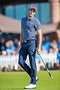 Benjamin Hebert (FRA) sees his putt just miss on the 18th green during the final round of the Aberdeen Standard Investments Scottish Open at The Renaissance Club, North Berwick, Scotland on 14 July 2019.