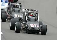 05 MAY 2007: Marc Jessup (67k) leads the pack into turn one during the sprint car race at the Casey's General Stores USAC Triple Crown at the Iowa Speedway in Newton, Iowa on May 5, 2007.