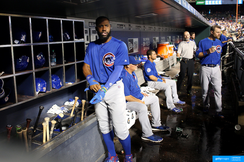 NEW YORK, NEW YORK - July 01: Jason Heyward #22 of the Chicago Cubs in the dugout preparing to bat during the Chicago Cubs Vs New York Mets regular season MLB game at Citi Field on July 01, 2016 in New York City. (Photo by Tim Clayton/Corbis via Getty Images)