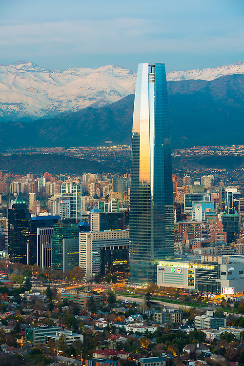Panoramic view of Providencia and Las Condes districts with Costanera Center skyscraper and Los Andes Mountain Range, Santiago de Chile <br /> <br /> For LICENSING and DOWNLOADING this image follow this link: http://www.masterfile.com/em/search/?keyword=600-06786890&amp;affiliate_id=01242CH84GH28J12OOY4<br /> <br /> For BUYING A PRINT of this image press the ADD TO CART button.<br /> <br /> Download of this image is not available at this site, please follow the link above.