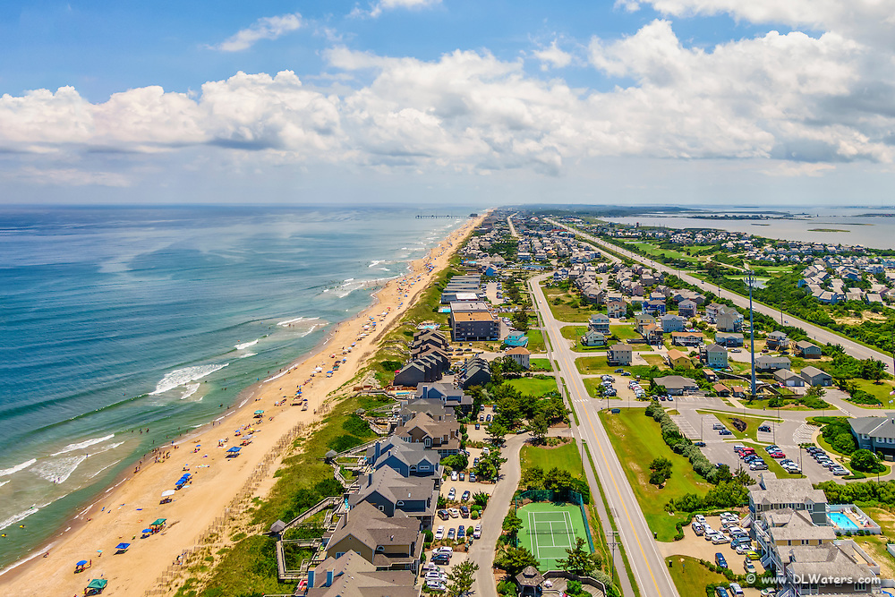 Ariel photograph of Nags Head looking south along Highway 12 on the Outer Banks.
