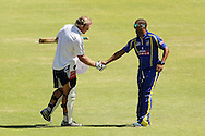 Vernon Philander congratulates Schalk Burger on his century during the Pick and Pay Newlands Challenge T20 cricket match between the DHL Stormers and The Cape Cobras held at Newlands Cricket Stadium in Newlands, Cape Town, South Africa on the 19th February 2012..Photo by Ron Gaunt/SPORTZPICS