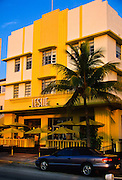Art deco building the Leslie on South Beach in Miami, FL.