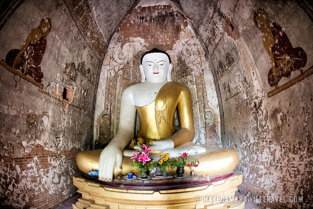 BAGAN, Myanmar (Burma) - A Buddha statue in a pagoda in Bagan. Capital of the ancient Kingdom of Pagan, Bagan features thousands of temples and pagodas, some of which date back to the 9th century.