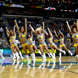 November 7, 2012; New Orleans, LA, USA; New Orleans Hornets Honeybees dancers perform during the second half of a game against the Philadelphia 76ers at the New Orleans Arena. The 76ers defeated the Hornets 77-62. Mandatory Credit: Derick E. Hingle-US PRESSWIRE