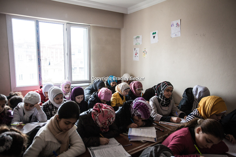 ANTAKYA, TURKEY. FEBRUARY 7. Female students at the Albashayer School for students upto college level. One of the few places for Syrian teenagers to continue their education in Turkey. Bradley Secker for the Washington Post
