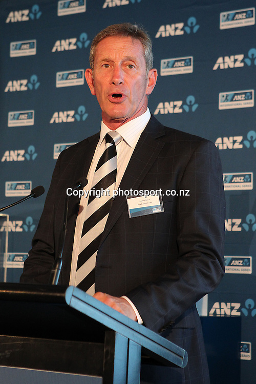 NZ Cricket Chairman Stephen Boock at the ANZ International Cricket Series Launch at Bellini, Hilton Hotel Auckland, 7 February 2013