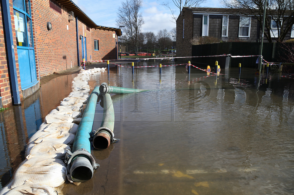 © Licensed to London News Pictures. 24/02/2014. Basingstoke, Hampshire, UK. Pipes in place ready for tankers to fill up with 19,000 litres of floodwater in the Buckskin area of Basingstoke, Hampshire. Groundwater levels are continuing to rise in the area, forcing 69 homes to be evacuated in the Buckskin Area of the commuter town. Photo credit : Rob Arnold/LNP
