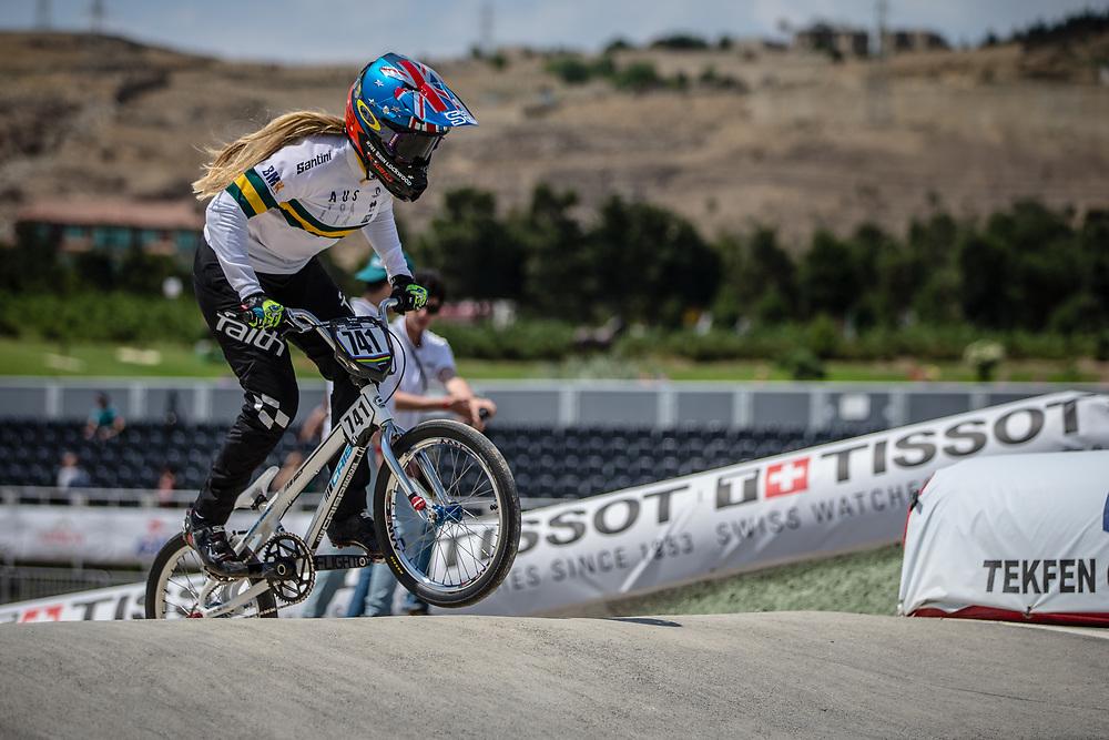 Women Elite #741 (LOCKWOOD Erin) AUS at the 2018 UCI BMX World Championships in Baku, Azerbaijan.