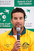 Patrick Rafter - captain of Australia team while press conference three days before the BNP Paribas Davis Cup 2013 between Poland and Australia at Torwar Hall in Warsaw on September 10, 2013.<br /> <br /> Poland, Warsaw, September 10, 2013<br /> <br /> Picture also available in RAW (NEF) or TIFF format on special request.<br /> <br /> For editorial use only. Any commercial or promotional use requires permission.<br /> <br /> Photo by &copy; Adam Nurkiewicz / Mediasport